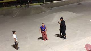 Crazy lady at skate park