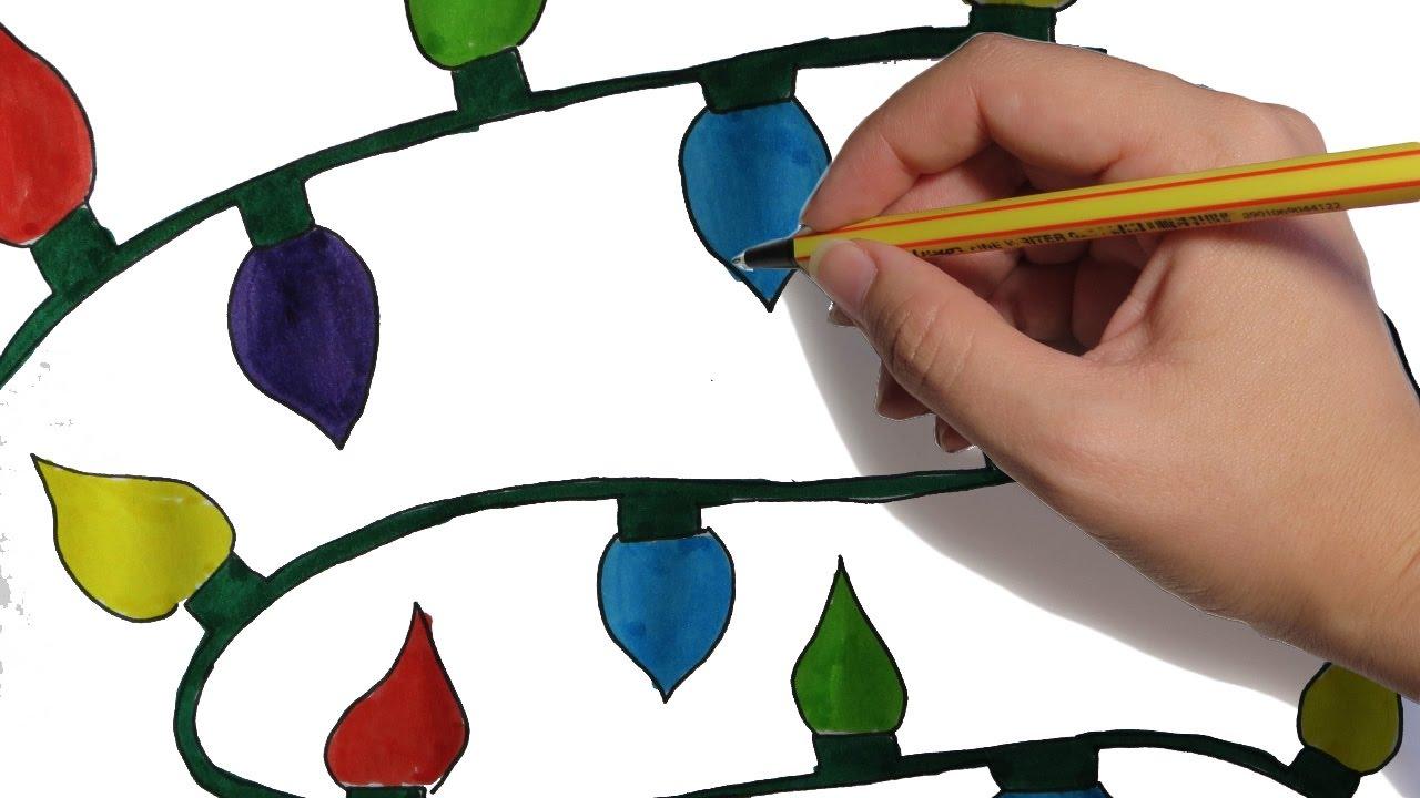 Como dibujar luces navide as paso a paso facil dibujos de - Dibujos navidad en color ...