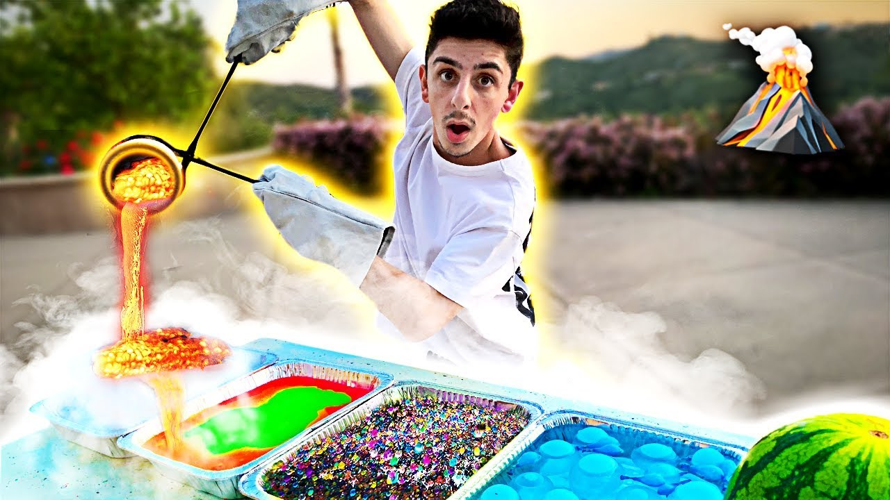 Experiment Lava Vs Dry Ice Slime Orbeez Amp More Youtube