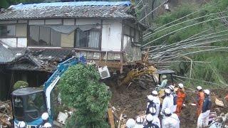 大雨と土砂、熊本襲う 消防隊員らが救助作業