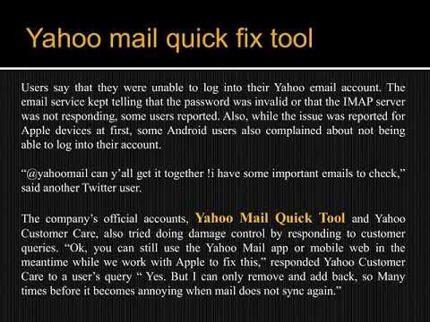 Yahoo mail quick fix tool