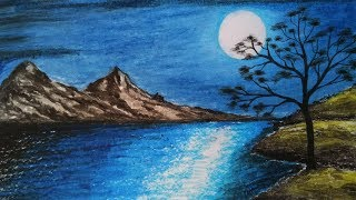 How to draw Moonlight scenery.Step by step(easy draw)