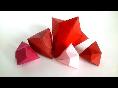 Paper Diamond Easy - DIY Origami Diamond Tutorial (with Glue)