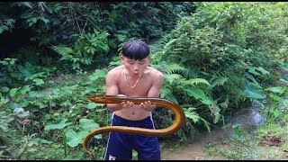survival skills | catching and processing eel - primitive life | survival skills. HT