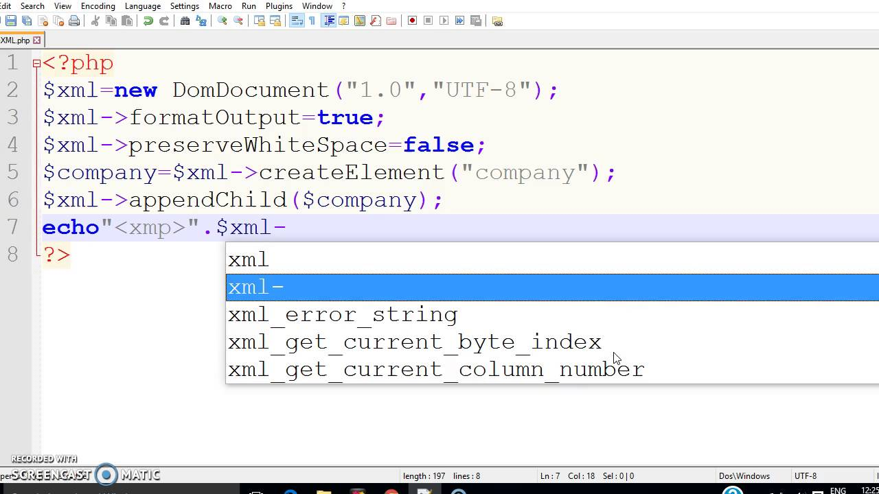 how to write xml data   xml file with the help of php