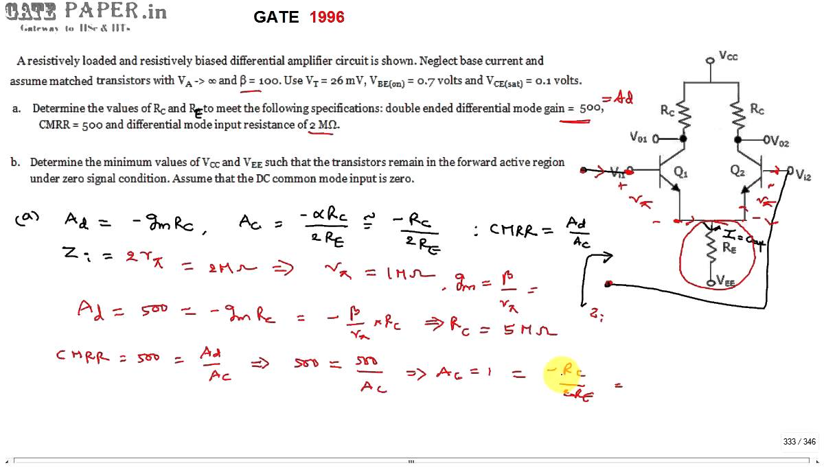 Gate 1996 Ece Design Of Differential Amplifier For Given Cmrr Circuit With Common Mode Signal Input Amplifiercircuit Gain