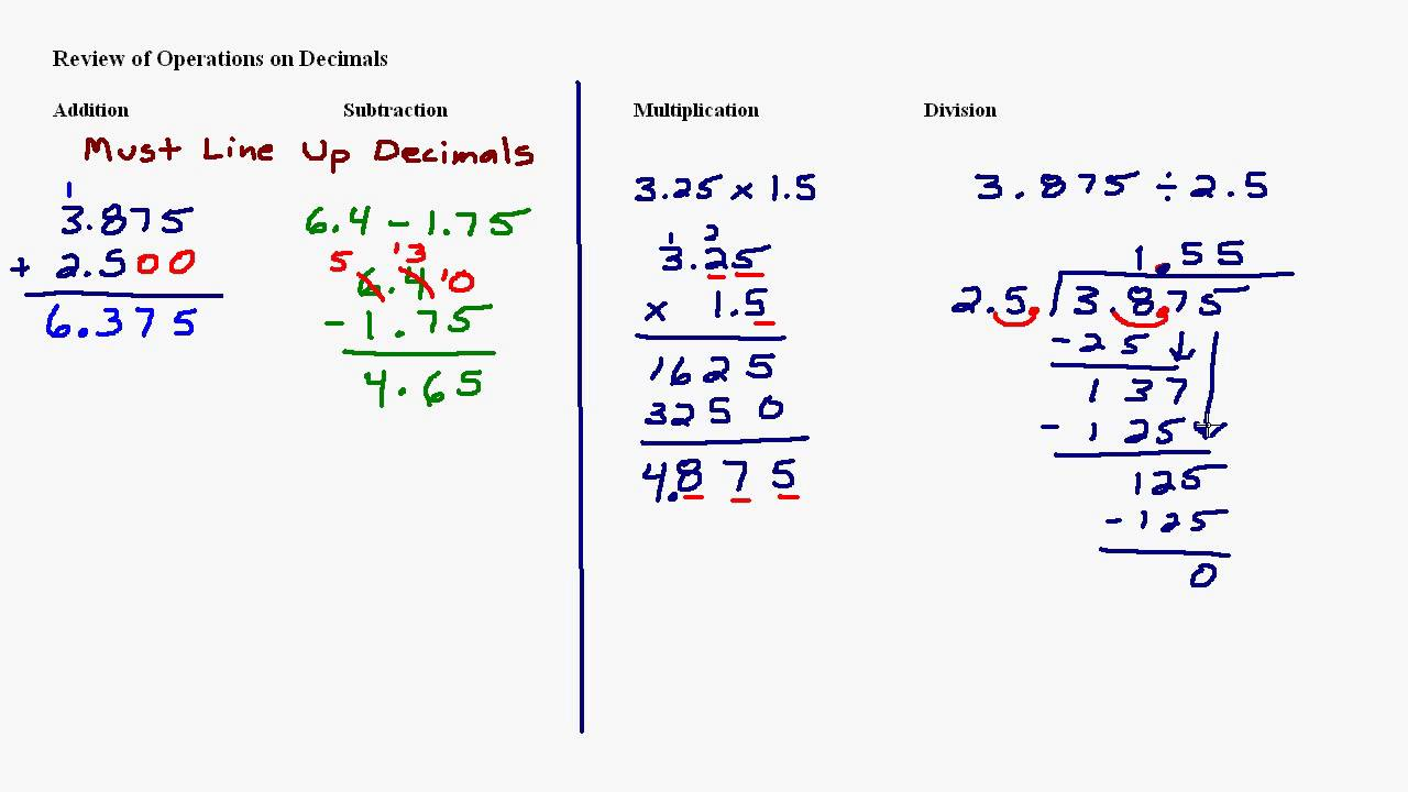 worksheet Addition Subtraction Multiplication Division decimals addition subtraction multiplication and division division