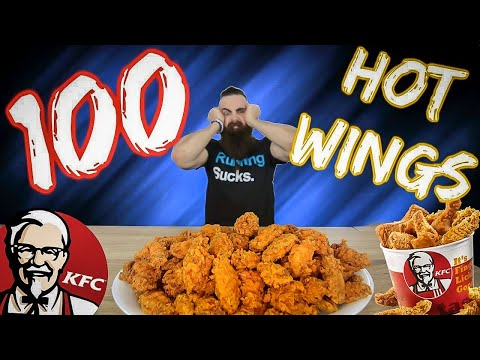 ONE MAN VS 100 KFC HOT WINGS | BeardMeatsFood