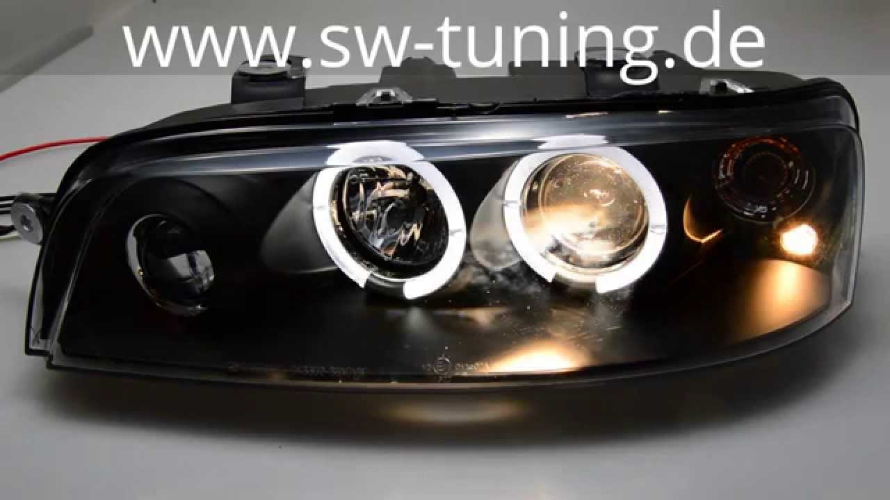 Angel Eye Headlight For Fiat Punto Type 188 99 03 2 Led Helo Rim Black Sw Tuning Youtube