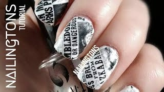 Easy Nail Art: Harry Potter Inspired Daily Prophet Newspaper Nails Tutorial Remake