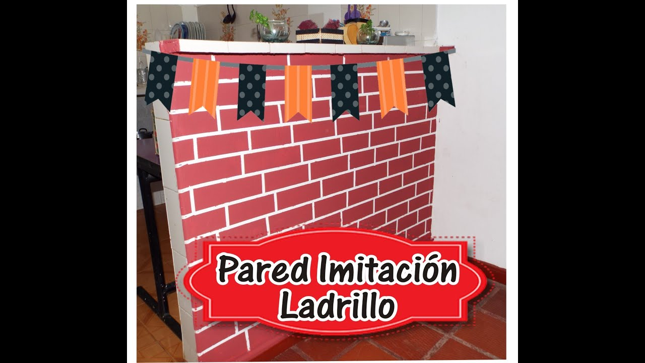 ♥ PINTAR Pared imitacion Ladrillo| Ideas para Pintar - YouTube