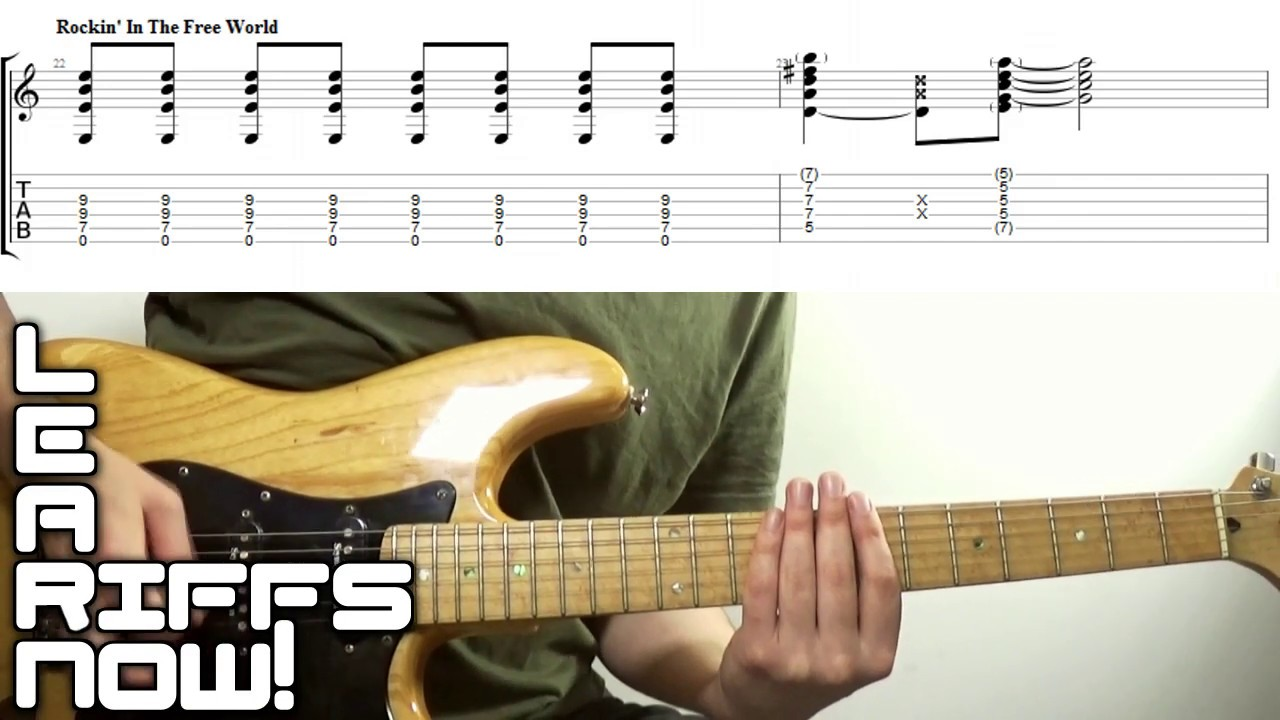 Rocking In The Free World Intro Riff Tab Neil Young Youtube
