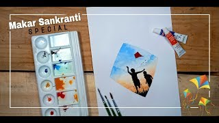 Festival of Kites Double Exposure Painting | Makar Sankranti Special | Drawing Tutorial