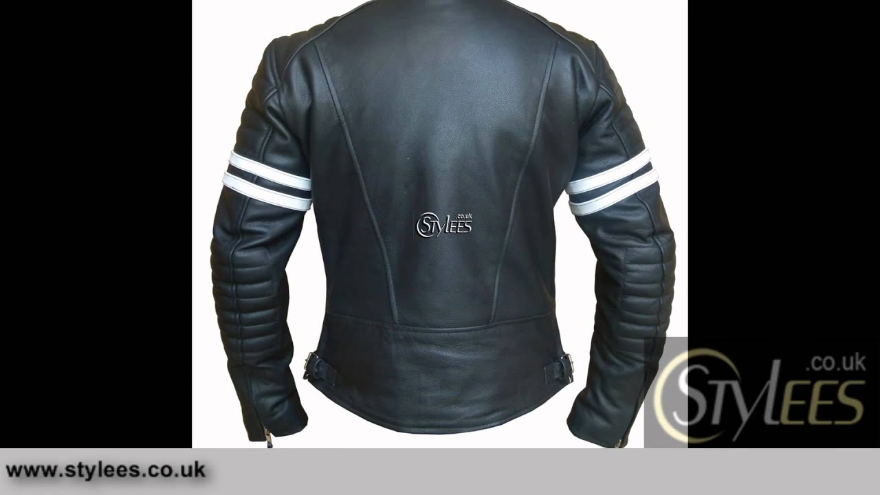 White Striped Cafe Racer Style Retro Leather Jacket