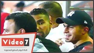 نجل علاء مبارك بمدرجات السلام لمتابعة مباراة الاهلى بحضور والده