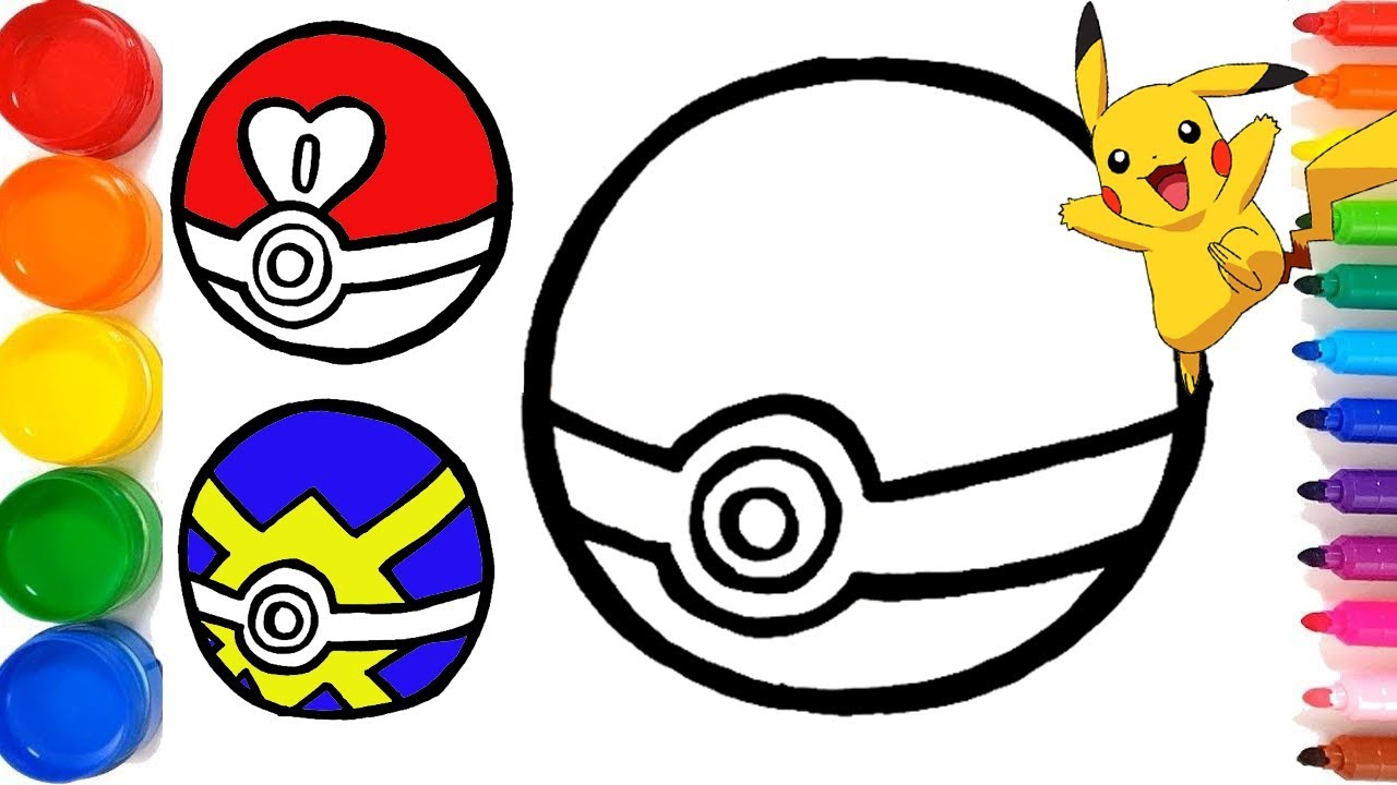 Pokemon Pokeballs Drawing and Coloring for Kids | Pokemon ...