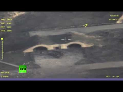 Russian MoD drone footage of aftermath from US missile strike on Syrian Army airbase