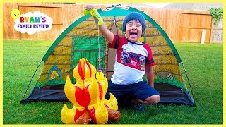 Ryan Pretend Play Camṗing and Fishing in the Backyard with Ryan's Family Review!!!