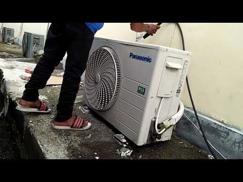 Washing clean outdoor unit split ac panasonic