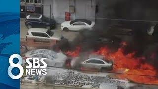 '인천 화재' 불길 휩싸인 소방차 폭발…불안에 떤 시민들 / SBS