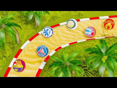 Football Clubs Marble Race Extreme Downhill - 16 Best Football Teams