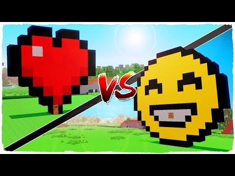 HEART house vs EMOJIS house - MINECRAFT