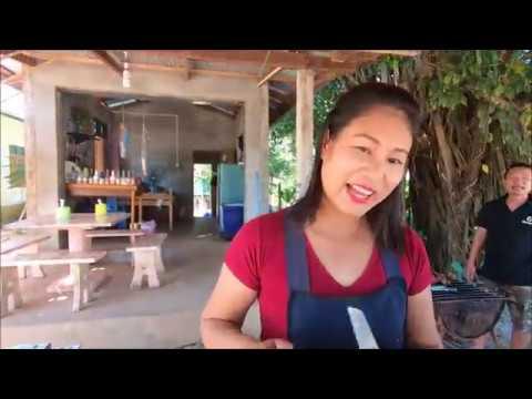 กินอาหารไทยอิสาน ที่กะเหรี่ยง,ส้มตำปูปลาร้า,น้ำตก หูหมูย่าง,Local thai food in Myanmar,Hpa-an