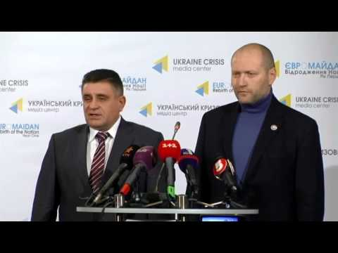 """Right Sector"" and Kyiv police. Ukraine Crisis Media Center, 12th of November 2014"