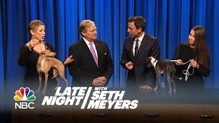 Seth's Dog Frisbee vs. the Champion Italian Greyhound - Late Night with Seth Meyers