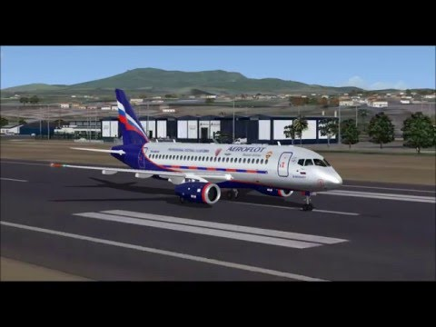 SUKHOI SUPERJET 100 AEROFLOT RUSSIAN AIRLINES TAKE OFF FROM PONTA DELGADA FS9 HD