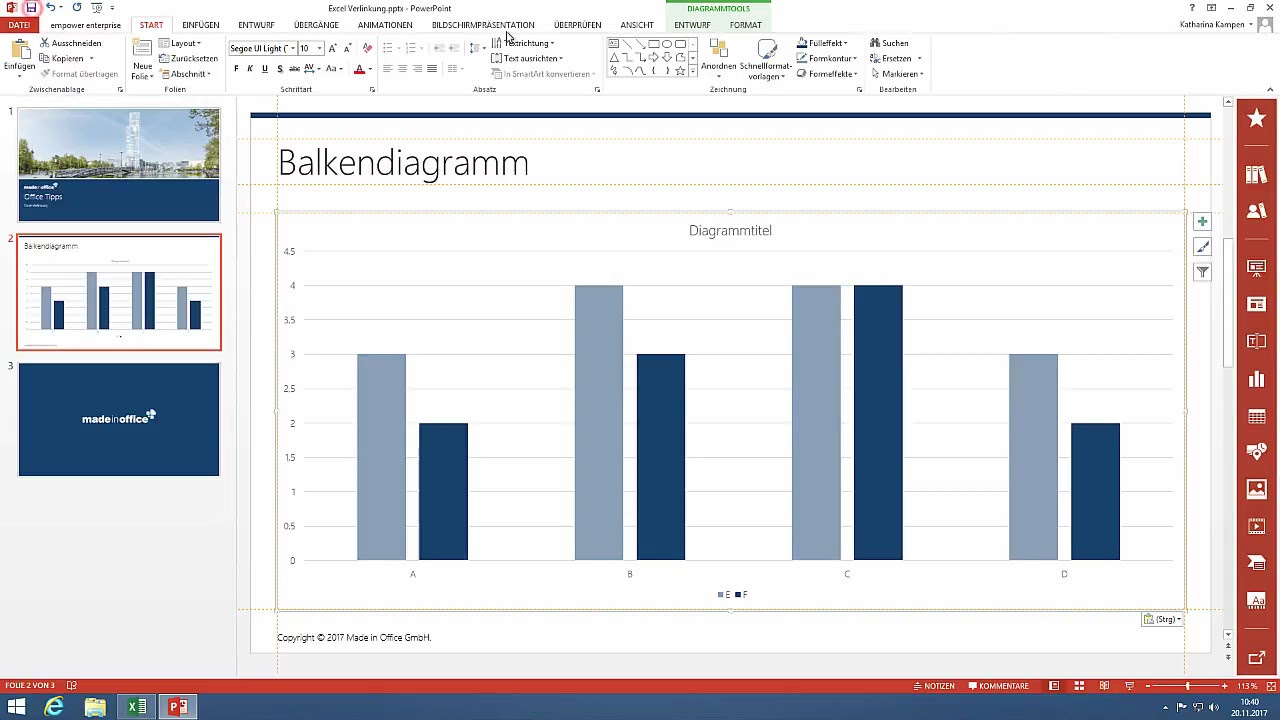 Office Tipp: Link PPT charts with excel and keep your data up to date