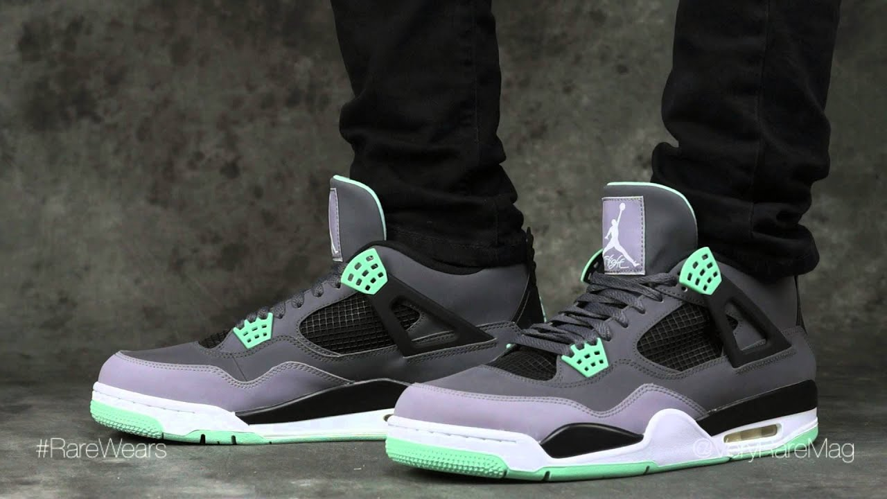 sneakers for cheap 7f383 b9c64 JORDAN RETRO 4 GREEN GLOW EDITION w  review and foot action