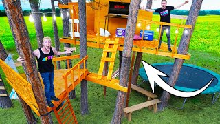WE BUILT A BACKYARD TREE HOUSE MANSION!