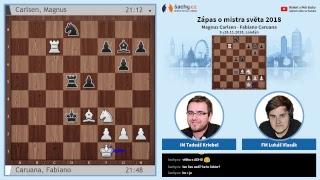 FIDE 2018 World Chess Championship - přímý přenos 5. partie, komentují Tadeáš Kriebel a Lukáš Vlasák