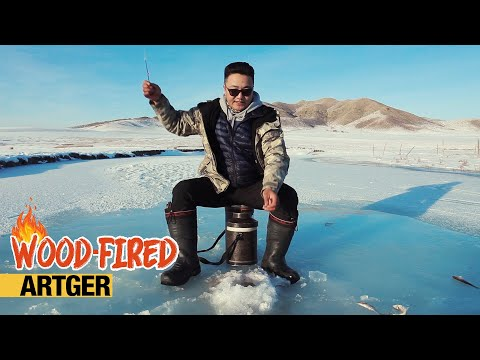 Most Simple Way To Grill Roach Fish - Ice Fishing In Mongolia | Wood-Fired With Uugaa