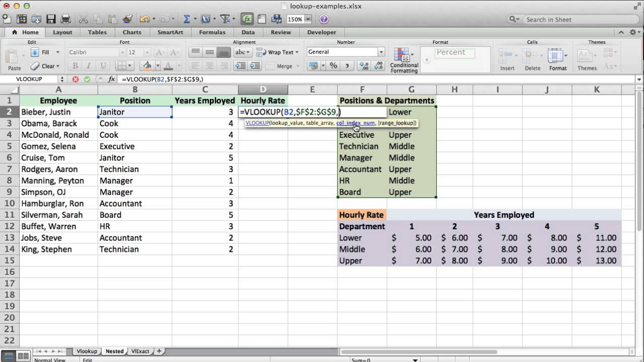 vlookup tutorial and example  how to use nested vlookup