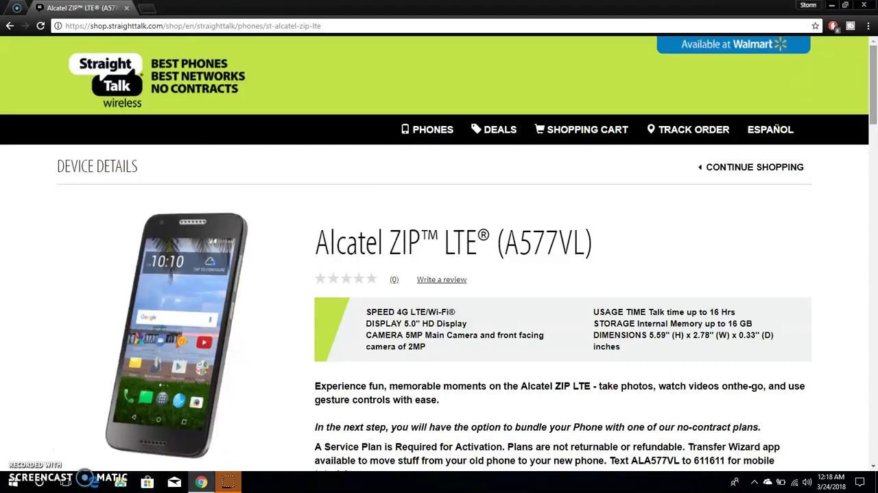 Alcatel ZIP™ LTE® (A577VL) | Straight Talk