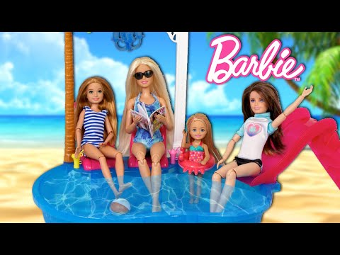 Barbie Sisters Morning Routine On Vacation Trip - Toy Hotel Pool