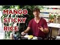 Thai Food: Eating Mango Sticky Rice in Bangkok, Thailand - Delicious Dessert Street Food