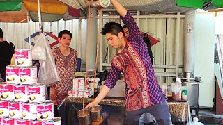 Bangkok Street Food - Thai Pulled Tea (Teh Tarik) and Young Coconut Ice Cream