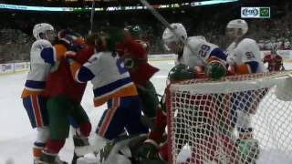 Dubnyk starts huge line brawl with slash