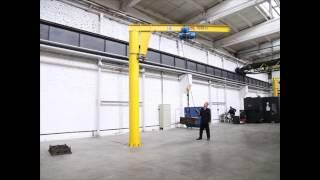 видео Кран консольный поворотный на колонне 3,2 тонны, длина стрелы 4 метра. Производство и монтаж в Новосибирске
