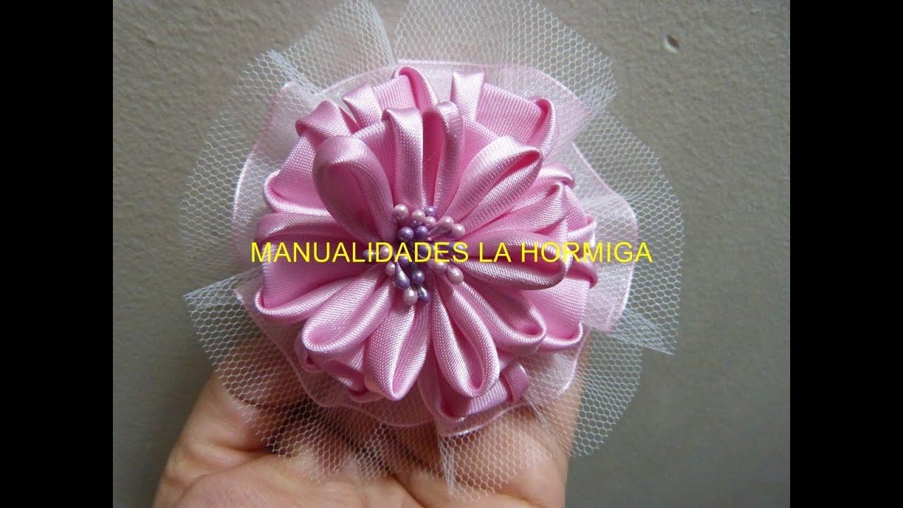 Como hacer hermosas flores con tela how to make beautiful - Manualidades con lazos ...