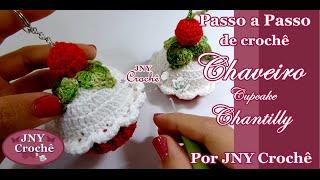 Chaveiro Cupcake de crochê Chantilly