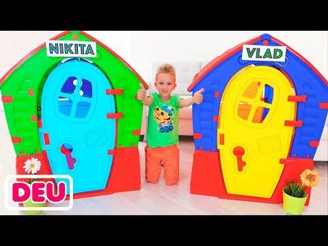 Vlad und Nikita bauen Spielhäuser für Kinder