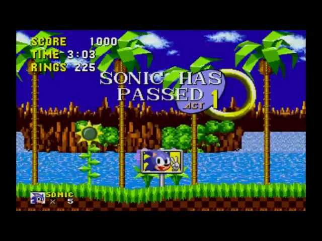 Sonic 1 - Green Hill Zone - Act 1 - ring attack - 225 rings - 3:03