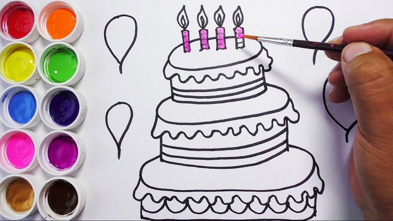 Dibujos Para Decorar Hojas Para Nios: Como Dibujar Y Colorear Una Torta De Cumpleaños