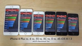 iPhone 6 Plus vs. 6 vs. 5S vs. 5C vs. 5 vs. 4S iOS 8.1.3 - AnTuTu Benchmark Test (4K)