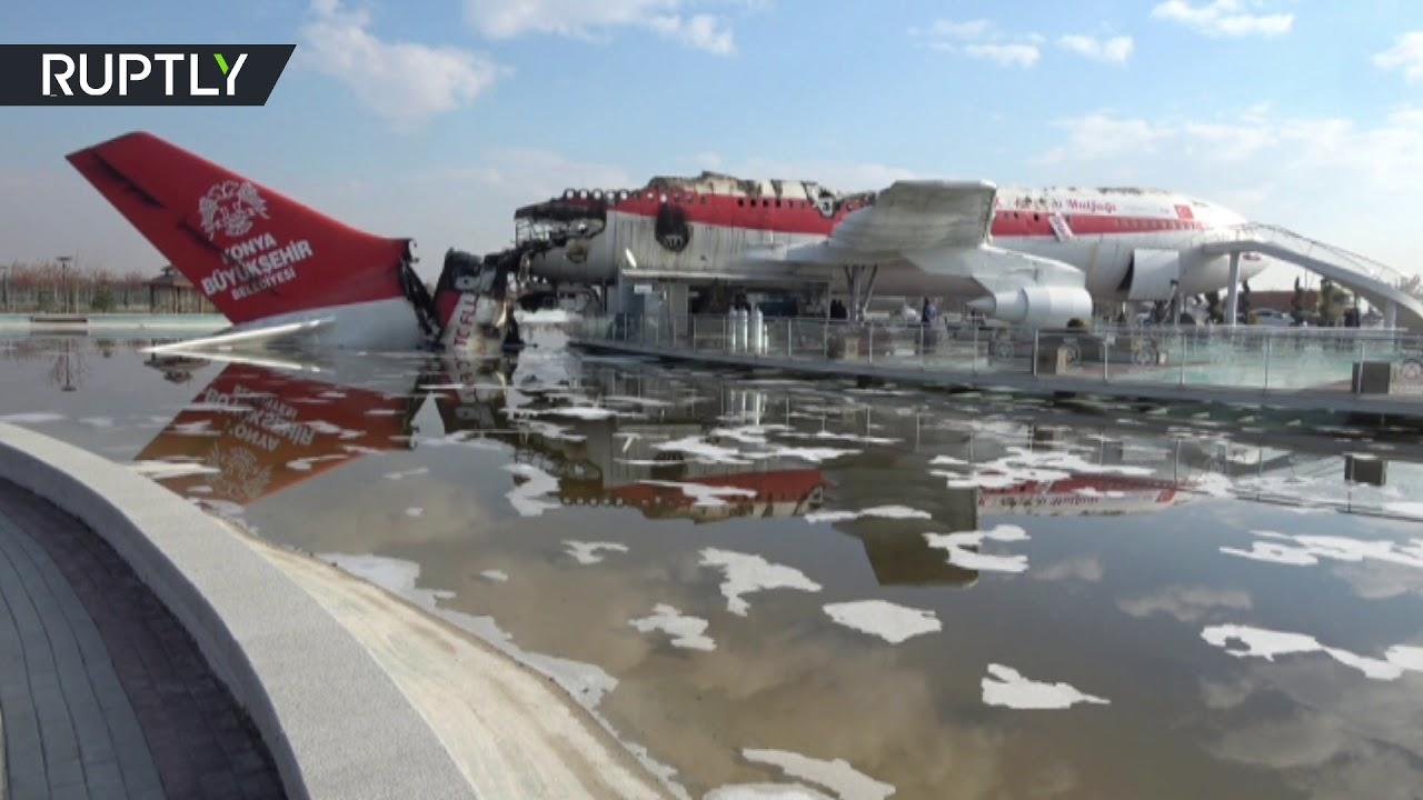 شاهد ما خلفه الحريق الذي اندلع داخل مطعم إيرباص في تركيا