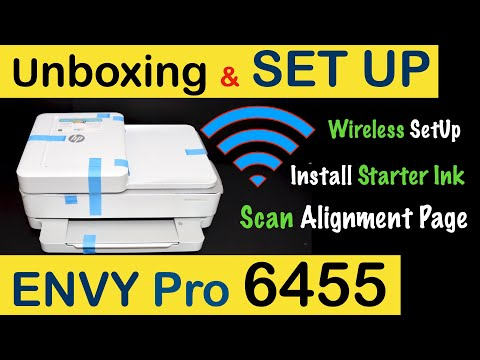 HP Envy Pro 6455 Wireless SetUp, Unboxing, install Starter Ink, Scan Alignment Page, Review !!